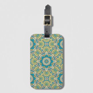 Green and Blue Floral Mandala Luggage Tag