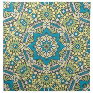 Green and Blue Floral Mandala Napkin