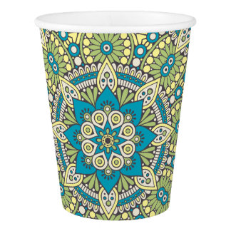Green and Blue Floral Mandala Paper Cup