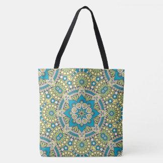 Green and Blue Floral Mandala Tote Bag