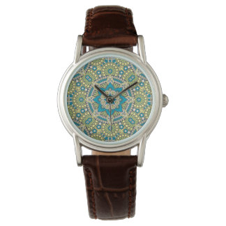 Green and Blue Floral Mandala Watch