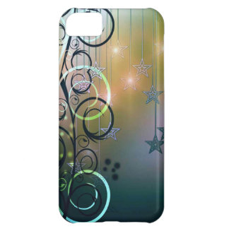 Green and blue floral swirls with hanging stars iPhone 5C cover
