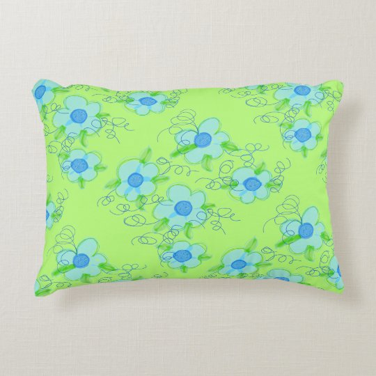 Green And Blue Flowered Pillow