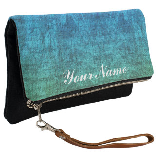 Green And Blue Gradient Texture Pattern Clutch