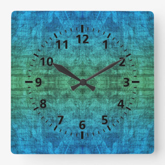Green And Blue Gradient Texture Pattern Square Wall Clock
