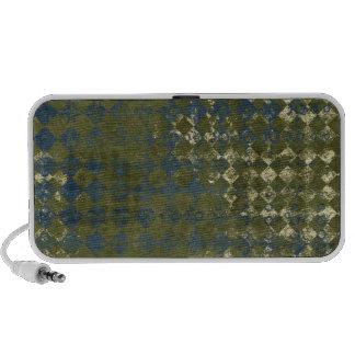 green and blue grunge diamond pattern iPod speaker