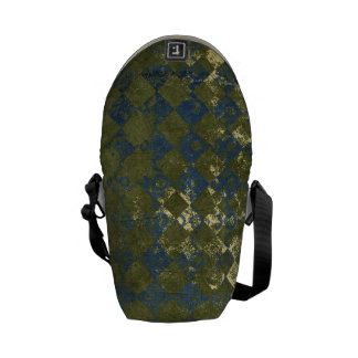 green and blue grunge diamond pattern courier bags