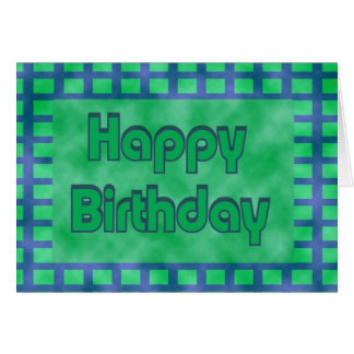 green and blue Happy Birthday Card