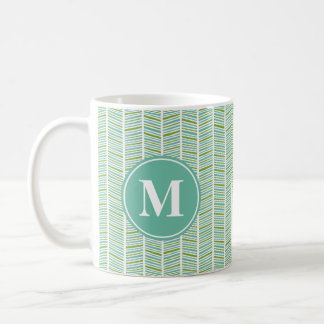 Green and Blue Herringbone Pattern with Monogram Coffee Mug