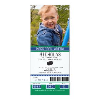 "Green and Blue Hockey Ticket Birthday 4"" X 9.25"" Invitation Card"