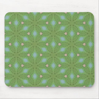 Green and Blue Leafy Pattern Mouse Pad