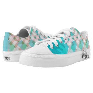 Green and blue lines Low-Top sneakers