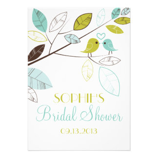 Green and Blue Lovebirds Bridal Shower Invitations