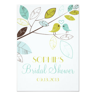 Green and Blue Lovebirds Bridal Shower Invitations