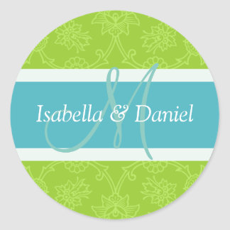 Green And Blue Monogram Seal Stickers