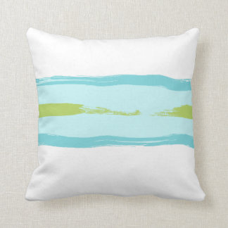 Green and Blue Paint Stripes Pillow