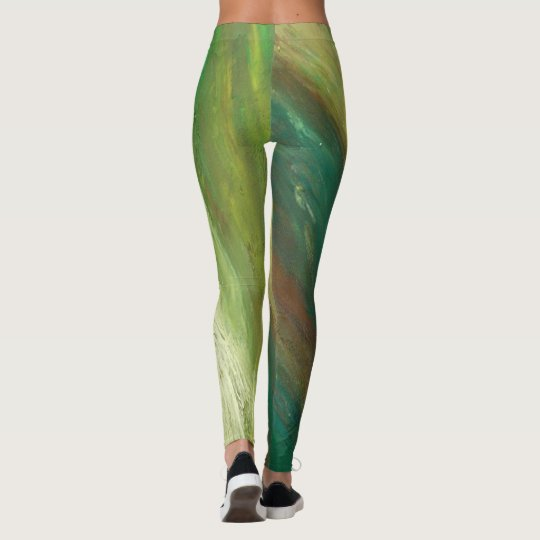 Green and Blue Painting Leggings