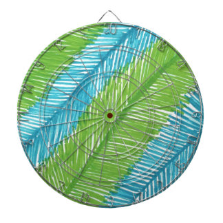 Green and Blue Palm Leaves Pattern Dartboard
