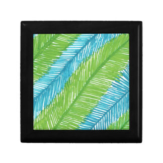 Green and Blue Palm Leaves Pattern Gift Box