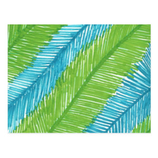 Green and Blue Palm Leaves Pattern Postcard