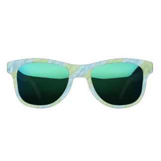 Green and Blue Palm Leaves Pattern Sunglasses