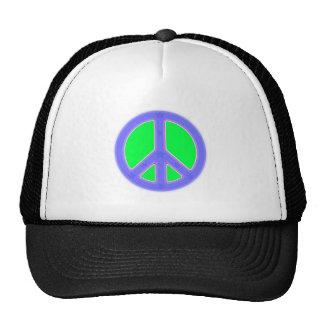 Green and Blue Peace Symbol Design Trucker Hat