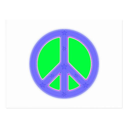 Green and Blue Peace Symbol Design Postcard