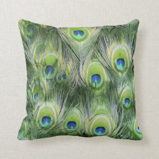 Green and Blue Peacock Feather Animal Throw Pillow