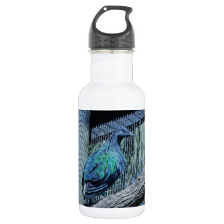 Green and blue pigeon water bottle
