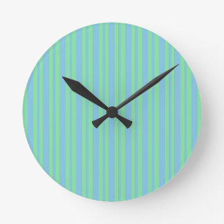 Green and Blue Pinstripe Round Clock