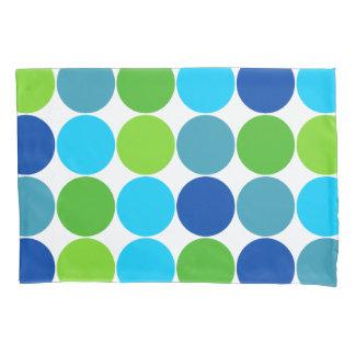 Green and Blue Polka Dot Pattern Pillowcase