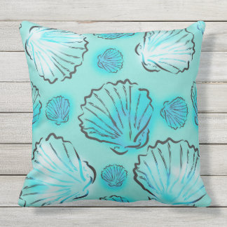 Green And Blue Seashells Beach Throw Pillow
