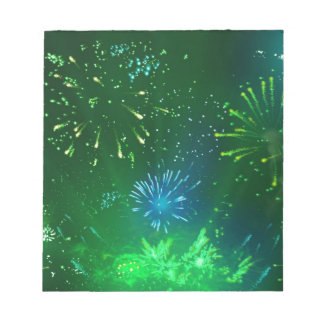 green and blue sparkles notepad