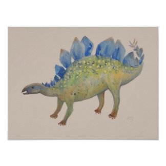 Green and Blue Stegosaurus Watercolor Painting Poster