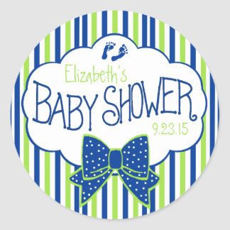 Green and Blue Stripes Baby Shower Classic Round Sticker