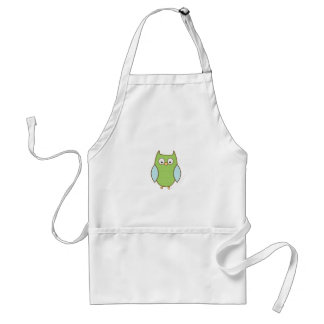 green and blue textured owl apron