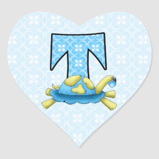 """Green and Blue Turtle Monogram """"T"""" for Boys Heart Sticker"""