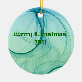 Green And Blue Waters Double-Sided Ceramic Round Christmas Ornament