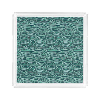 Green and blue waves pattern. Sea texture. Acrylic Tray