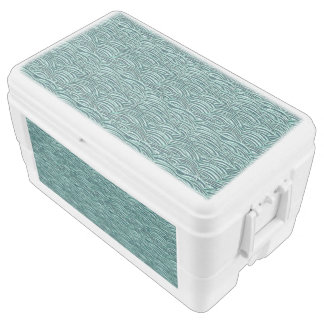 Green and blue waves pattern. Sea texture. Chest Cooler