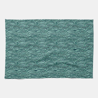 Green and blue waves pattern. Sea texture. Kitchen Towel