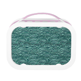 Green and blue waves pattern. Sea texture. Lunch Box
