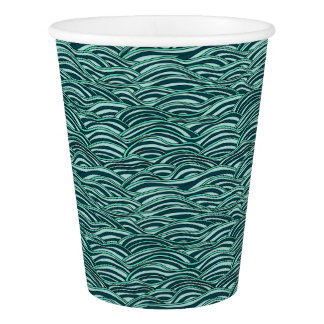 Green and blue waves pattern. Sea texture. Paper Cup