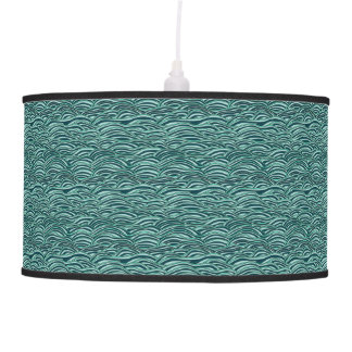Green and blue waves pattern. Sea texture. Pendant Lamp