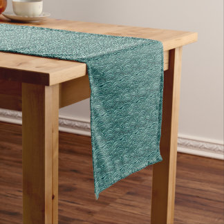 Green and blue waves pattern. Sea texture. Short Table Runner