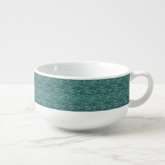 Green and blue waves pattern. Sea texture. Soup Mug