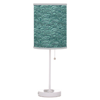 Green and blue waves pattern. Sea texture. Table Lamp