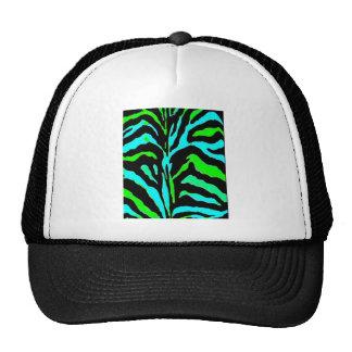 Green and Blue Zebra print of vibrant colors Trucker Hat