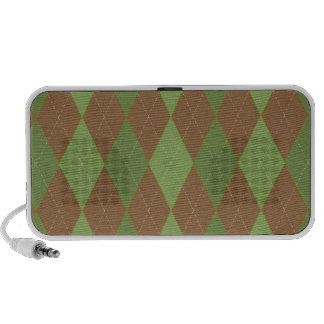 Green and Brown Argyle Doodle Speaker