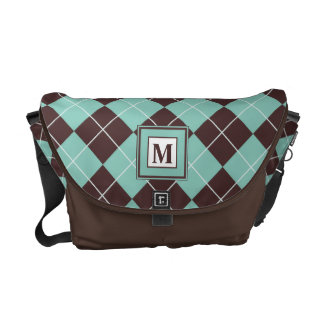 Green and Brown Argyle Pattern Monogram Bag Commuter Bags